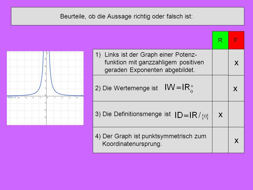 Beurteile, ob die Aussage richtig oder falsch ist: 1)Links ist der Graph einer Potenz- funktion mit ganzzahligem positiven geraden Exponenten abgebild