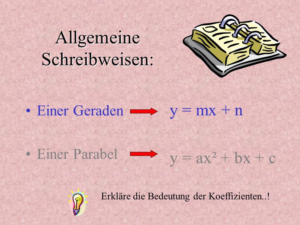 Allgemeine Schreibweisen: Einer Geraden Einer Parabel y = mx + n y = ax² + bx + c Erkläre die Bedeutung der Koeffizienten..!