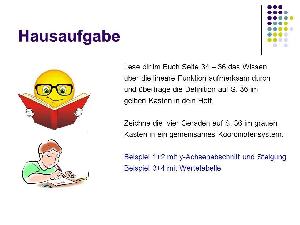 Hausaufgabe Lese dir im Buch Seite 34 – 36 das Wissen über die lineare Funktion aufmerksam durch und übertrage die Definition auf S. 36 im gelben Kast