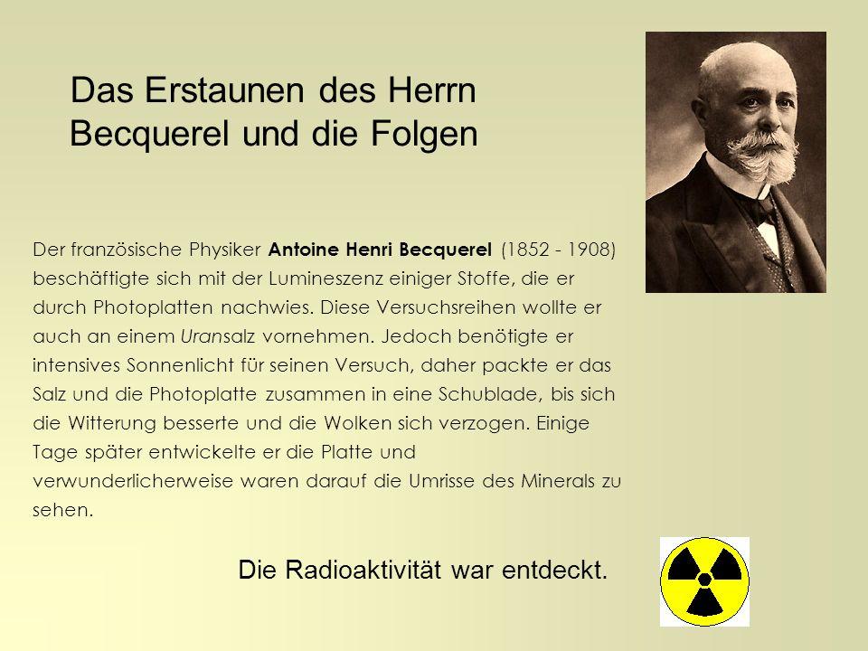 Entdeckungsgeschichte in Bildern: Mit der Erforschung der Radioaktivität beschäftigte sich um das Jahr 1896 das Ehepaar Curie: Marie Curie (1867 - 1934) und Pierre Curie (1859 - 1906) Sie untersuchten zunächst alle bekannten Stoffe mit dem Elektroskop (Geigerzähler gab es noch nicht) auf diese neue Art der Strahlung und wiesen sie beim Thorium nach.