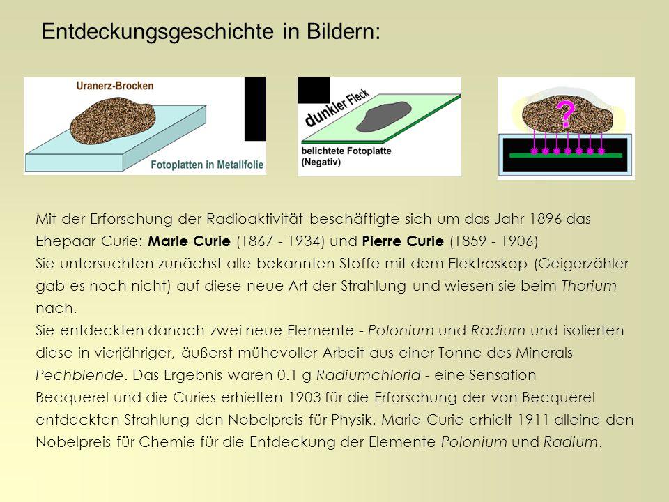 Entdeckungsgeschichte in Bildern: Mit der Erforschung der Radioaktivität beschäftigte sich um das Jahr 1896 das Ehepaar Curie: Marie Curie (1867 - 193