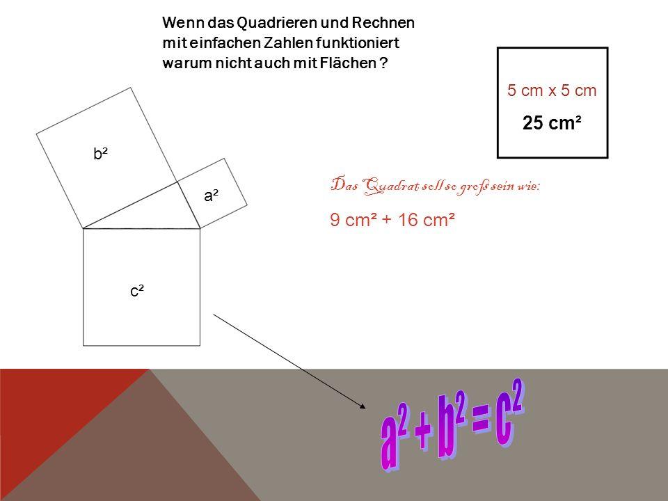 Wenn das Quadrieren und Rechnen mit einfachen Zahlen funktioniert warum nicht auch mit Flächen ? 5 cm x 5 cm 25 cm² Das Quadrat soll so groß sein wie: