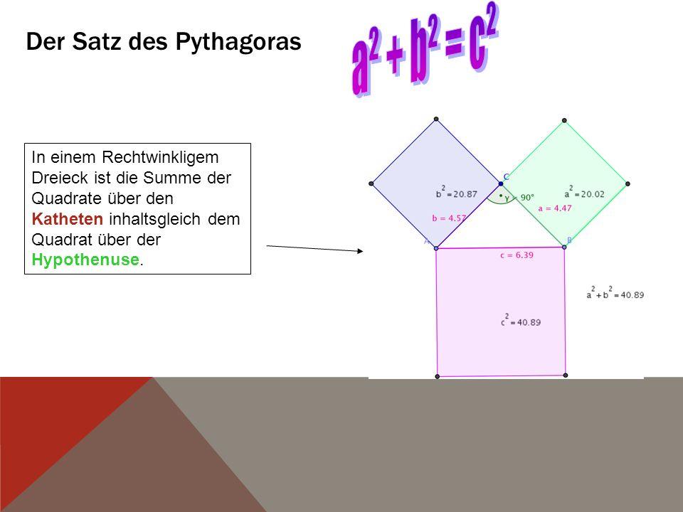 Der Satz des Pythagoras In einem Rechtwinkligem Dreieck ist die Summe der Quadrate über den Katheten inhaltsgleich dem Quadrat über der Hypothenuse.