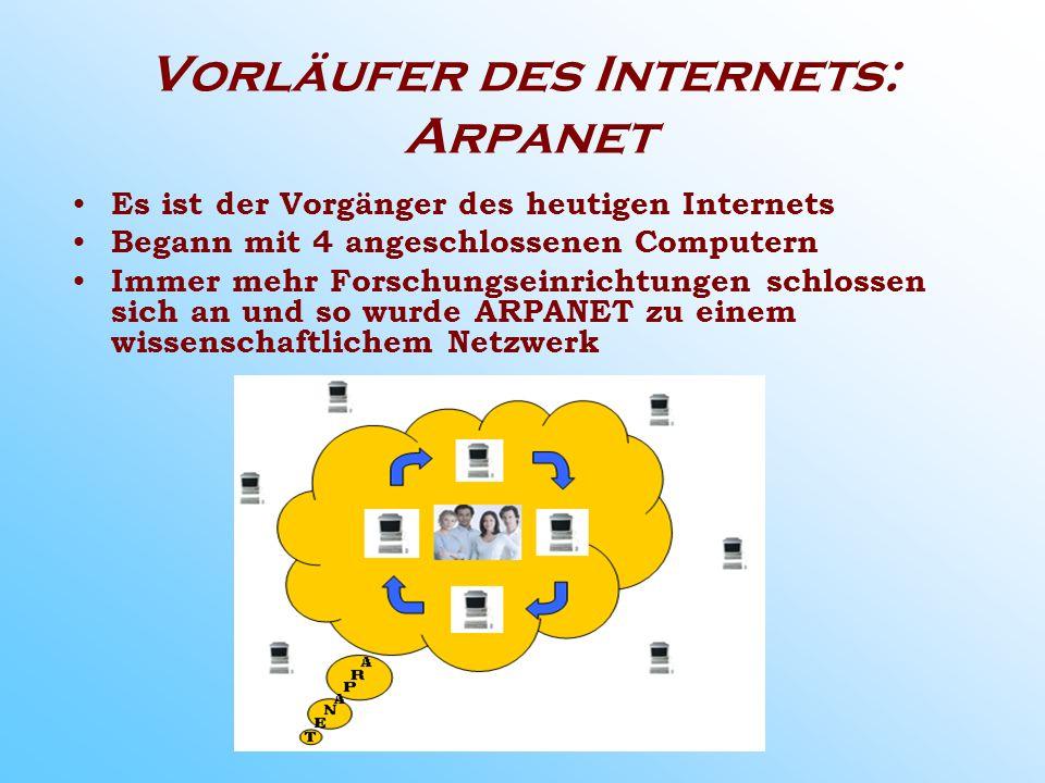 Vorläufer des Internets: Arpanet Es ist der Vorgänger des heutigen Internets Begann mit 4 angeschlossenen Computern Immer mehr Forschungseinrichtungen schlossen sich an und so wurde ARPANET zu einem wissenschaftlichem Netzwerk