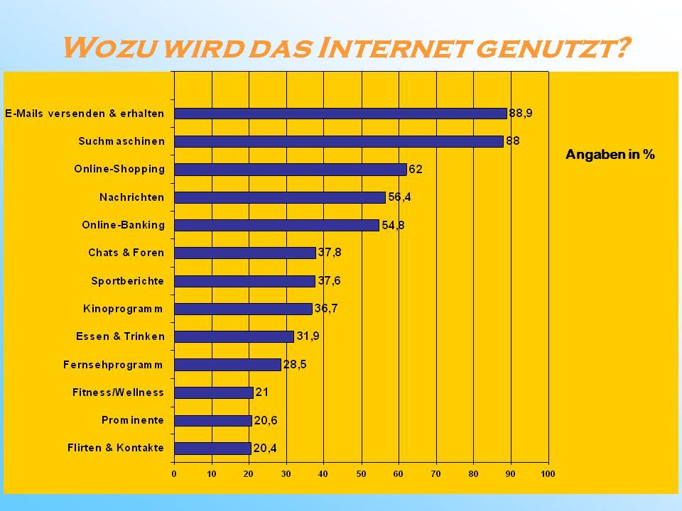 Wozu wird das Internet genutzt? Angaben in %