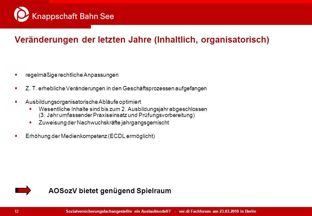 Sozialversicherungsfachangestellte ein Auslaufmodell? - ver.di Fachforum am 23.03.2010 in Berlin 12 Veränderungen der letzten Jahre (Inhaltlich, organ