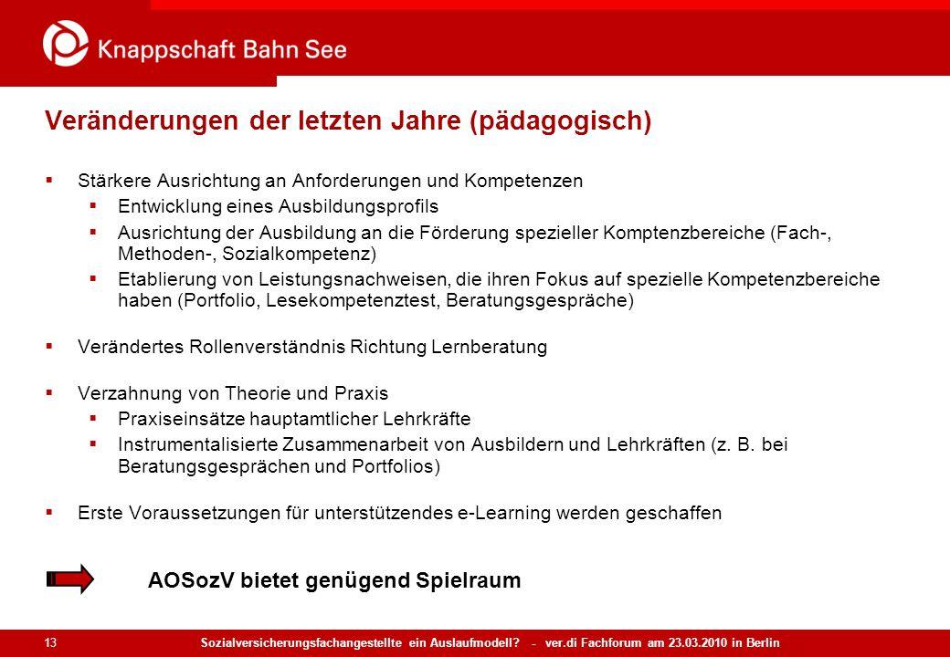 Sozialversicherungsfachangestellte ein Auslaufmodell? - ver.di Fachforum am 23.03.2010 in Berlin 13 Veränderungen der letzten Jahre (pädagogisch) Stär