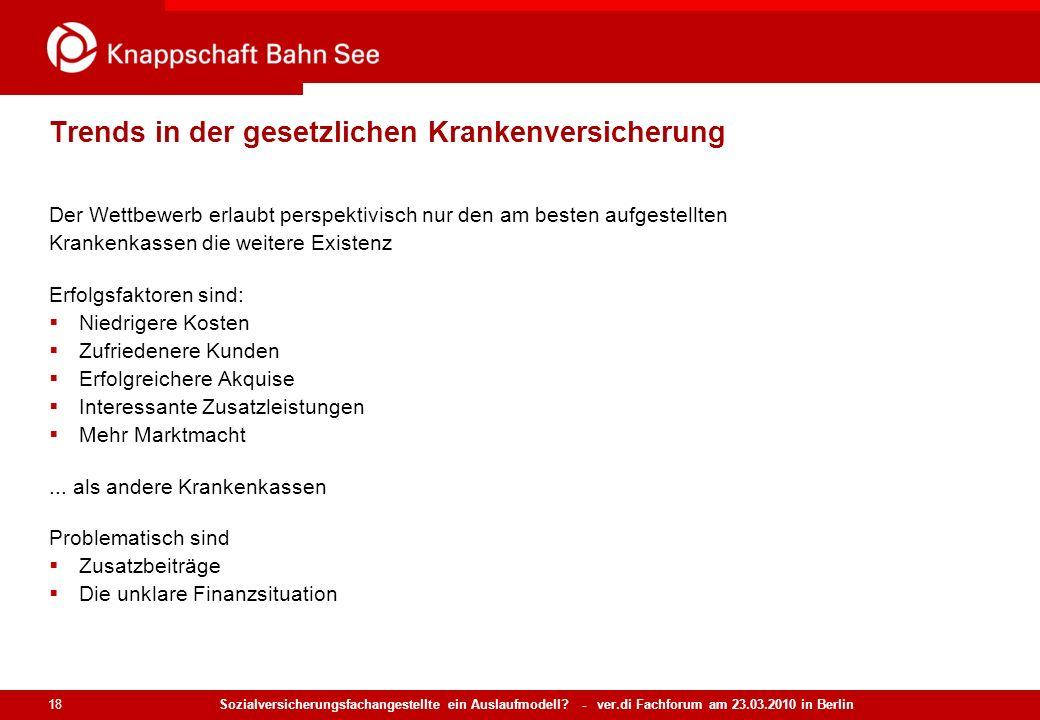 Sozialversicherungsfachangestellte ein Auslaufmodell? - ver.di Fachforum am 23.03.2010 in Berlin 18 Trends in der gesetzlichen Krankenversicherung Der