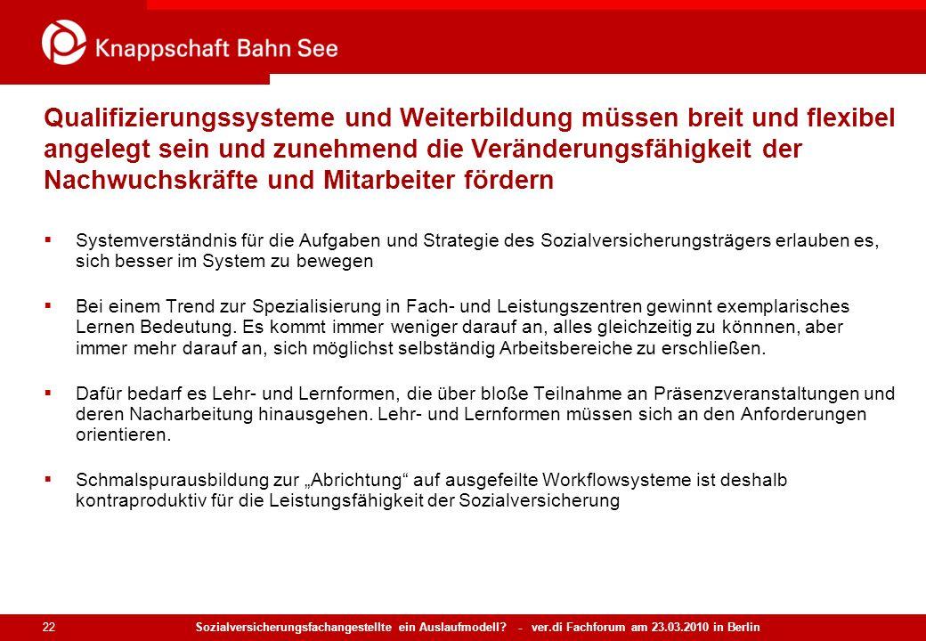 Sozialversicherungsfachangestellte ein Auslaufmodell? - ver.di Fachforum am 23.03.2010 in Berlin 22 Qualifizierungssysteme und Weiterbildung müssen br