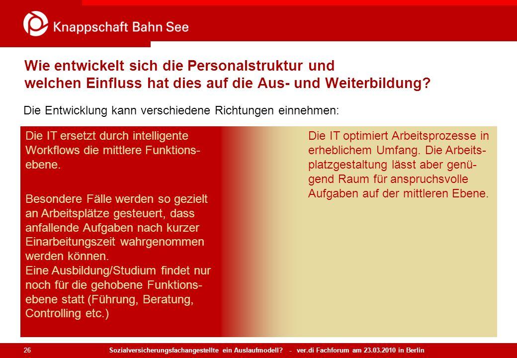 Sozialversicherungsfachangestellte ein Auslaufmodell? - ver.di Fachforum am 23.03.2010 in Berlin 26 Wie entwickelt sich die Personalstruktur und welch