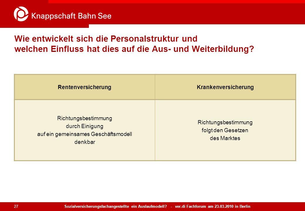 Sozialversicherungsfachangestellte ein Auslaufmodell? - ver.di Fachforum am 23.03.2010 in Berlin 27 Wie entwickelt sich die Personalstruktur und welch