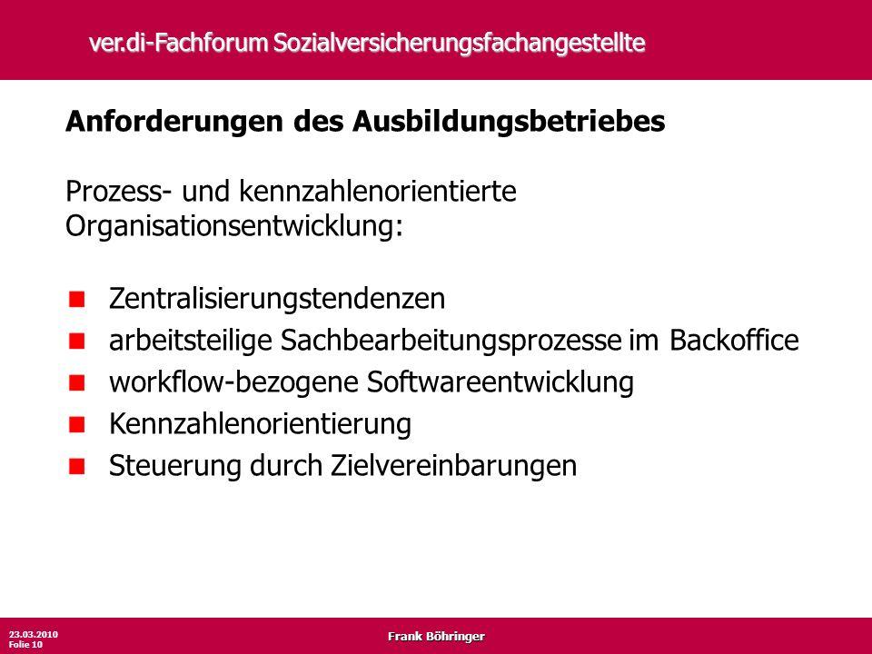 Frank Böhringer 23.03.2010 Folie 10 ver.di-Fachforum Sozialversicherungsfachangestellte Anforderungen des Ausbildungsbetriebes Prozess- und kennzahlen