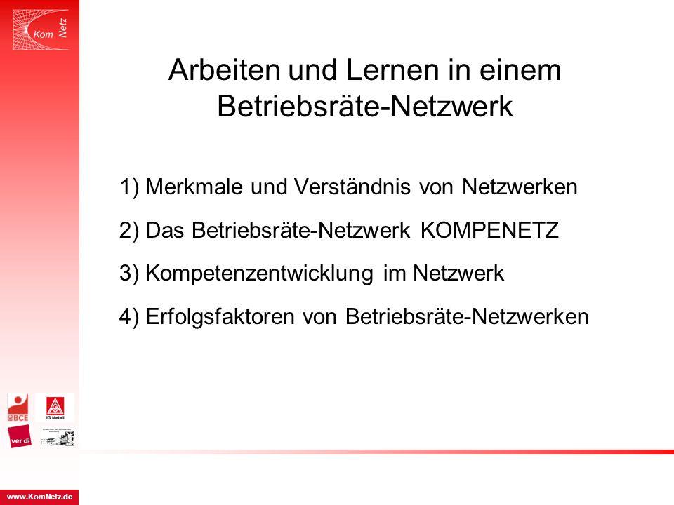 Arbeiten und Lernen in einem Betriebsräte-Netzwerk 1) Merkmale und Verständnis von Netzwerken 2) Das Betriebsräte-Netzwerk KOMPENETZ 3) Kompetenzentwi