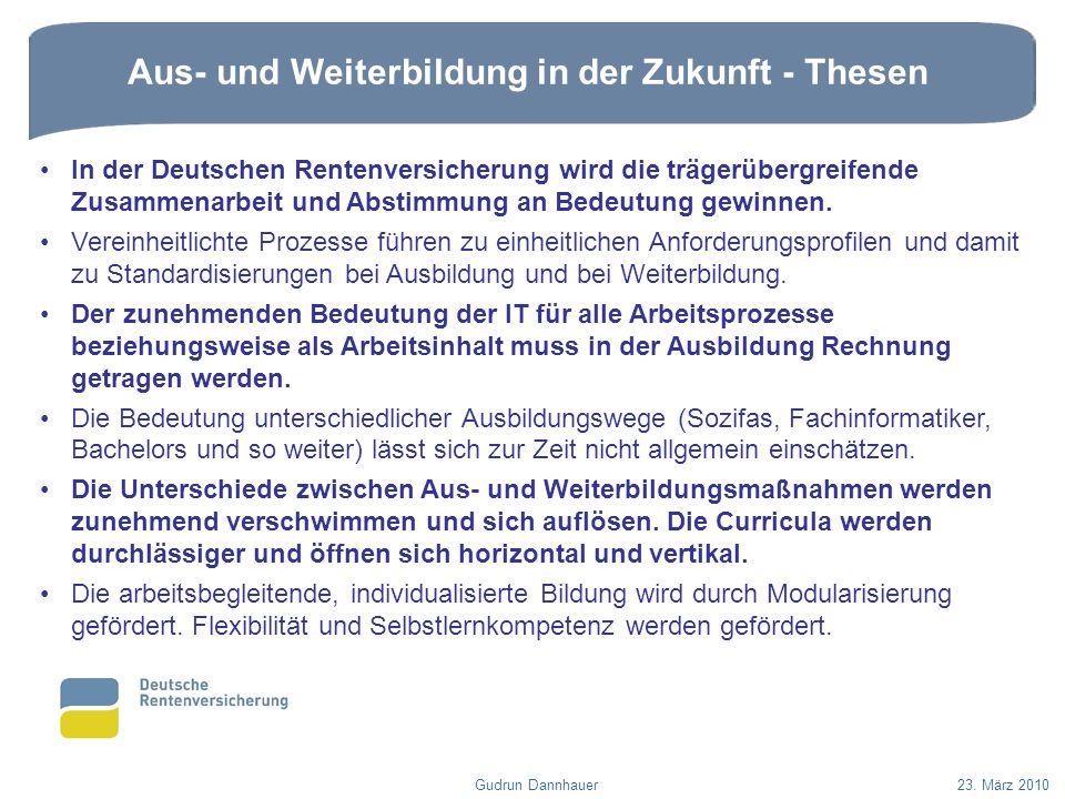 Aus- und Weiterbildung in der Zukunft - Thesen Gudrun Dannhauer23. März 2010 In der Deutschen Rentenversicherung wird die trägerübergreifende Zusammen