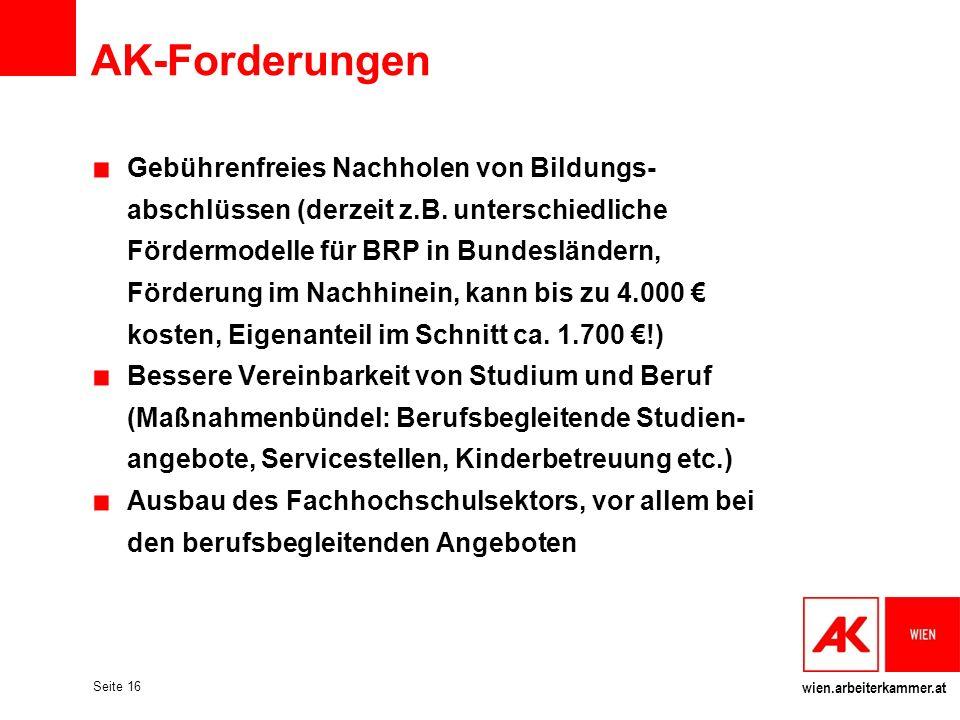 wien.arbeiterkammer.at Seite 16 AK-Forderungen Gebührenfreies Nachholen von Bildungs- abschlüssen (derzeit z.B. unterschiedliche Fördermodelle für BRP