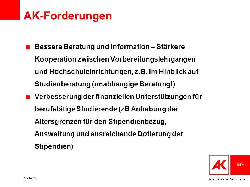 wien.arbeiterkammer.at Seite 17 AK-Forderungen Bessere Beratung und Information – Stärkere Kooperation zwischen Vorbereitungslehrgängen und Hochschule