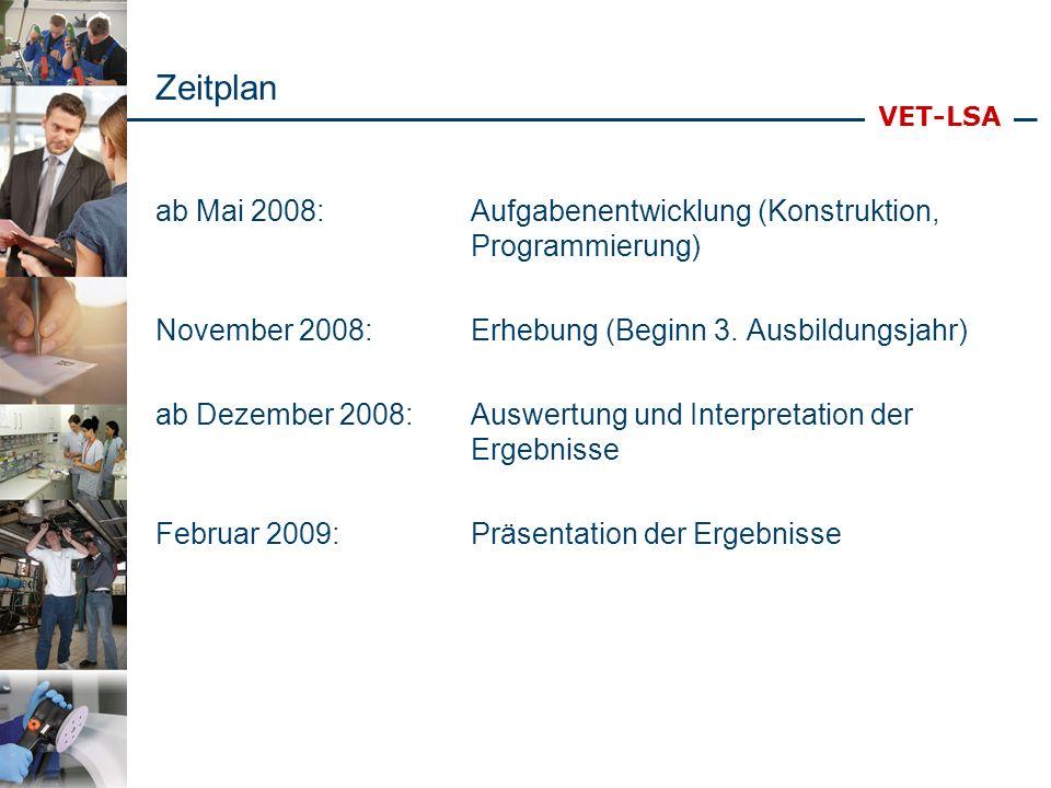 VET-LSA Zeitplan ab Mai 2008:Aufgabenentwicklung (Konstruktion, Programmierung) November 2008:Erhebung (Beginn 3. Ausbildungsjahr) ab Dezember 2008:Au