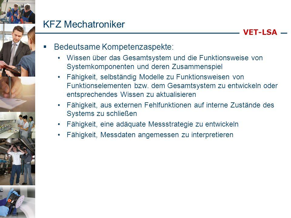 VET-LSA KFZ Mechatroniker Bedeutsame Kompetenzaspekte: Wissen über das Gesamtsystem und die Funktionsweise von Systemkomponenten und deren Zusammenspi