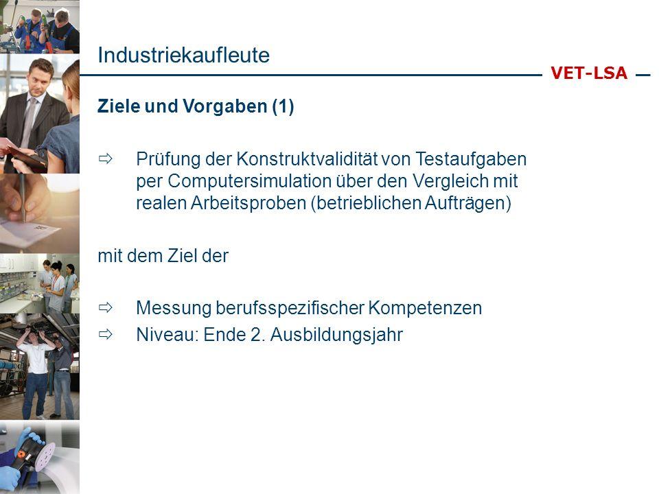VET-LSA Ziele und Vorgaben (2) Vornehmlich: Leistungserstellungs- und Beschaffungsprozesse (vgl.