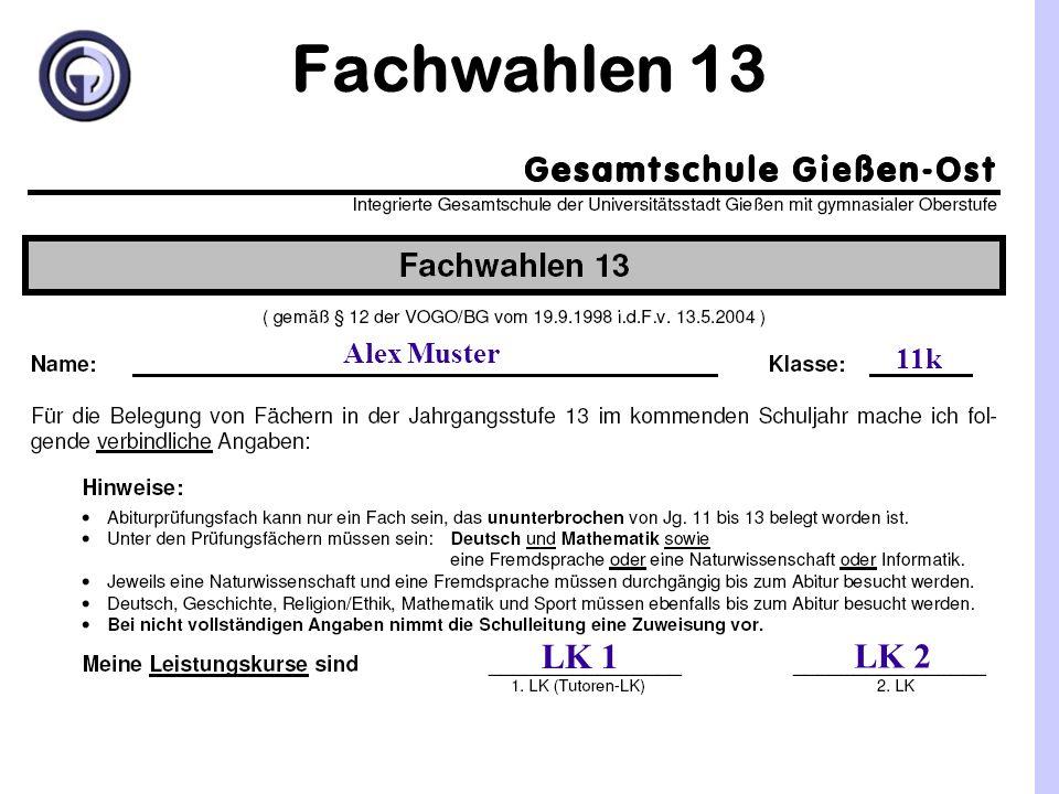 Kurswahlen Kurswahlen 13 Keine Belegungspflicht (GK) mehr für Kunst bzw.