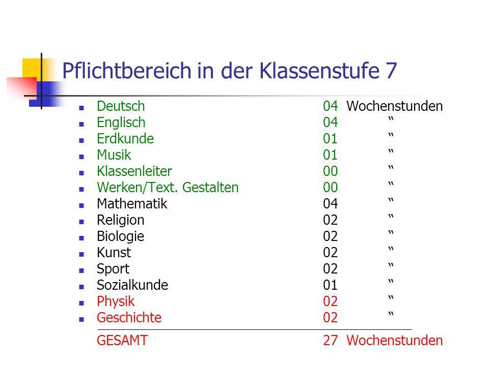 Pflichtbereich in der Klassenstufe 7 Deutsch04 Wochenstunden Englisch04 Erdkunde01 Musik01 Klassenleiter00 Werken/Text.