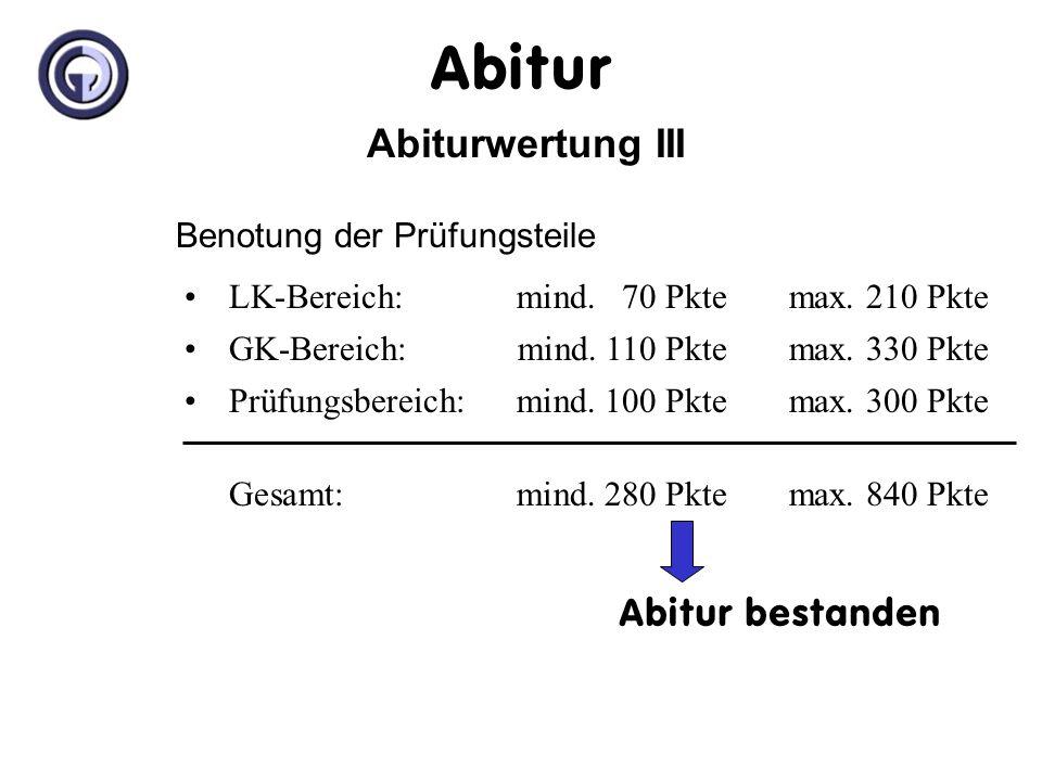 Abiturwertung II III.im Prüfungsbereich Prüfungskurs in 13.2 (1-fache Wertung) Abiturprüfung (3-fache Wertung) Prüfungsform 1. + 2. Prüfung:schriftlic