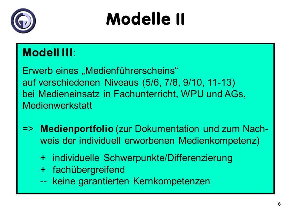 6 Modell III : Erwerb eines Medienführerscheins auf verschiedenen Niveaus (5/6, 7/8, 9/10, 11-13) bei Medieneinsatz in Fachunterricht, WPU und AGs, Me