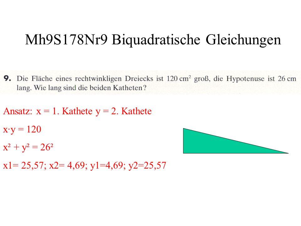 Mh9S178Nr10 Biquadratische Gleichungen a.Ansatz: x 4 –12 = x² Lösungen: x 1 = -2; x 2 = 2 b.