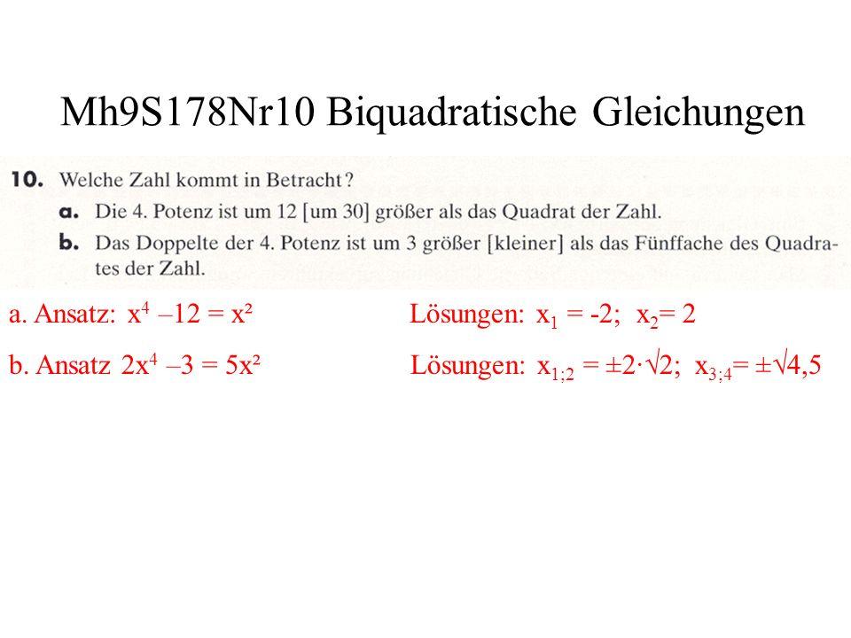 Mh9S178Nr10 Lösung durch Substitution a.Ansatz: z = x³ z² - 9z +8 = 0 Lösungen: x 1 ³= 7,87; x 1 = 1,99 x 2 ³= 1,13; x 2 = 1,04 b.Ansatz: z = y³ z² +7z -8 = 0 Lösungen: y 1 ³= -8; y 1 = -2 y 2 ³= 1; y 2 = 1 c.Ansatz: z = x 4 z² -17z +16= 0 Lösungen: x 1 4 = 16; x 1 =-2 x 2 =2 x 3 4 = 1; x 3 =-1 x 4 =1 d.Ansatz: x = z 4 x² +15x -16= 0 Lösungen: z 1 4 = -16; z 2 4 = 1; z 1 =-1 z 2 =1