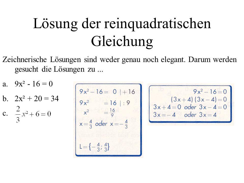 Lösung der reinquadratischen Gleichung Zeichnerische Lösungen sind weder genau noch elegant. Darum werden gesucht die Lösungen zu... a.9x² - 16 = 0 b.