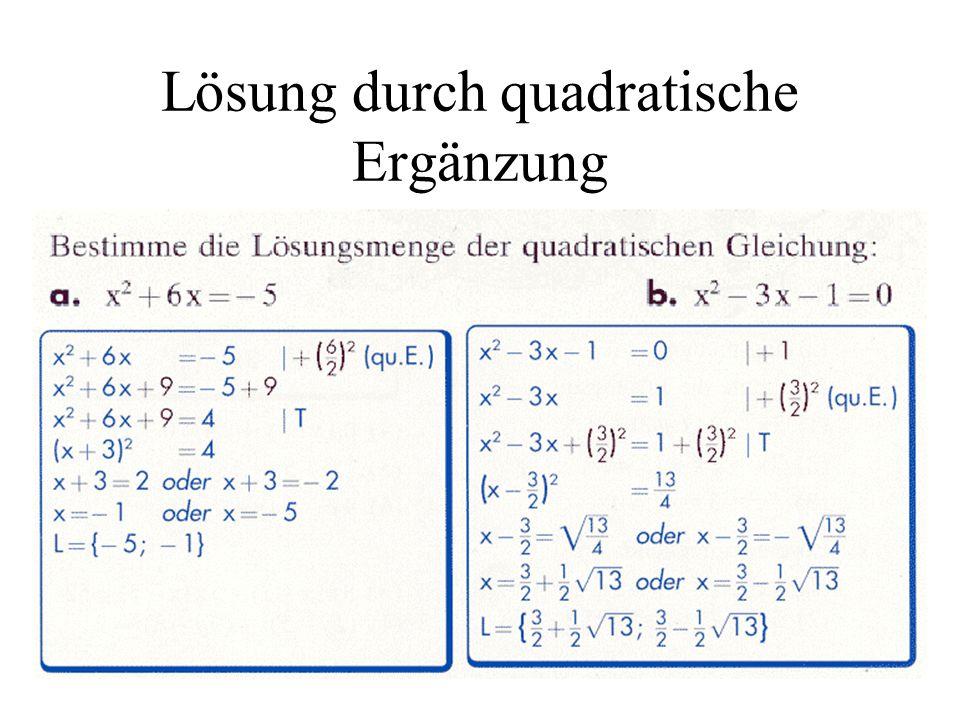 Lösung durch quadratische Ergänzung
