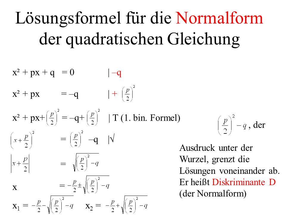 Lösungsformel für die Normalform der quadratischen Gleichung x² + px + q = 0| –q x² + px = –q| +x² + px+ = –q+ | T (1. bin. Formel) =–q | = x = x 1 =