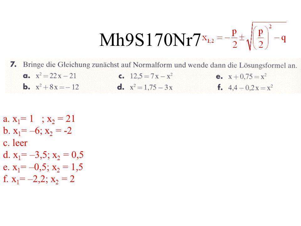 Mh9S170Nr7 a. x 1 = 1 ; x 2 = 21 b. x 1 = –6; x 2 = -2 c. leer d. x 1 = –3,5; x 2 = 0,5 e. x 1 = –0,5; x 2 = 1,5 f. x 1 = –2,2; x 2 = 2
