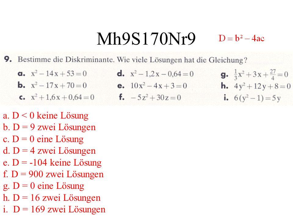 Mh9S170Nr9 a. D < 0 keine Lösung b. D = 9 zwei Lösungen c. D = 0 eine Lösung d. D = 4 zwei Lösungen e. D = -104 keine Lösung f. D = 900 zwei Lösungen