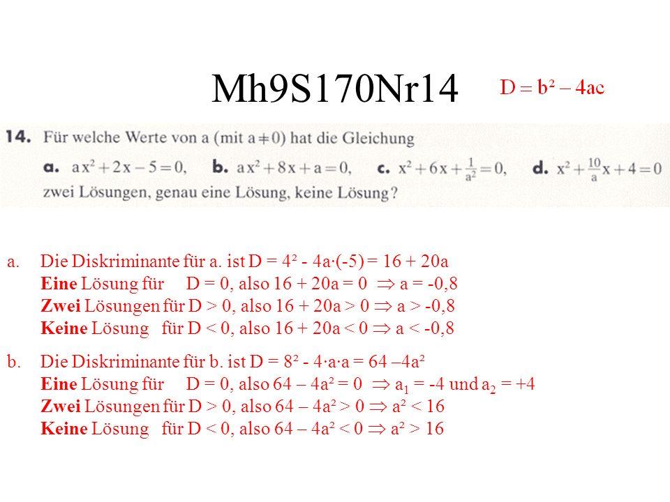 Mh9S170Nr14 a.Die Diskriminante für a. ist D = 4² - 4a·(-5) = 16 + 20a Eine Lösung für D = 0, also 16 + 20a = 0 a = -0,8 Zwei Lösungen für D > 0, also