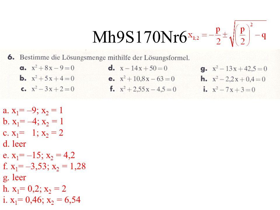 Mh9S170Nr6 a. x 1 = –9; x 2 = 1 b. x 1 = –4; x 2 = 1 c. x 1 = 1; x 2 = 2 d. leer e. x 1 = –15; x 2 = 4,2 f. x 1 = –3,53; x 2 = 1,28 g. leer h. x 1 = 0