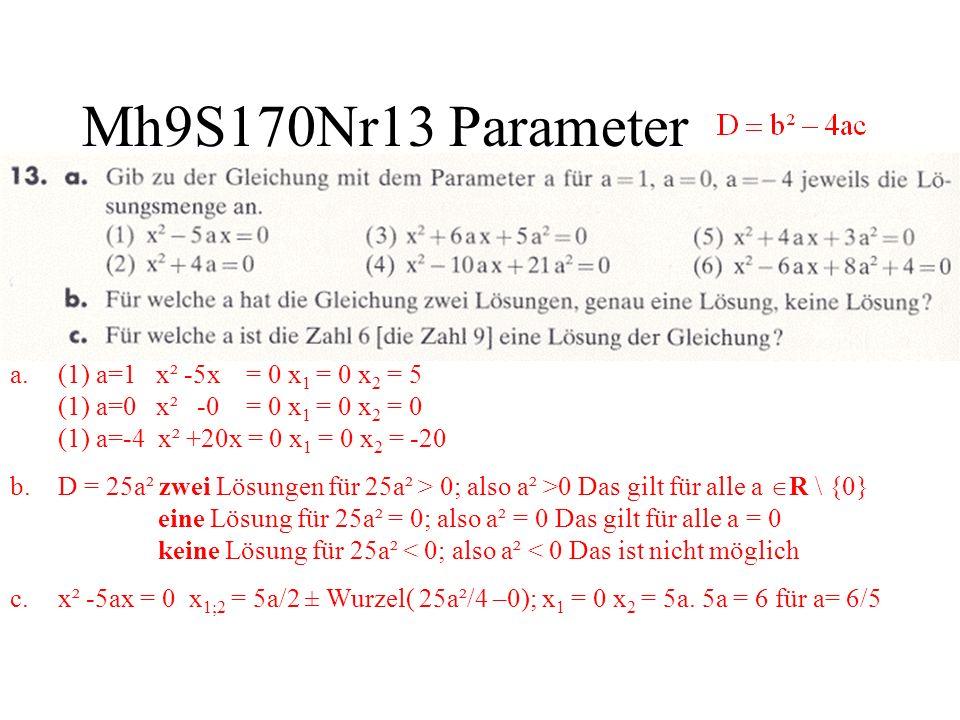 Mh9S170Nr13 Parameter a.(1) a=1 x² -5x = 0 x 1 = 0 x 2 = 5 (1) a=0 x² -0 = 0 x 1 = 0 x 2 = 0 (1) a=-4 x² +20x = 0 x 1 = 0 x 2 = -20 b.D = 25a² zwei Lö