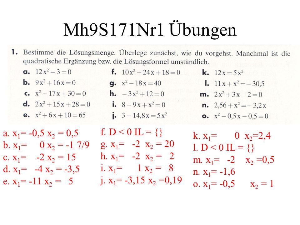 Mh9S171Nr1 Übungen a. x 1 = -0,5 x 2 = 0,5 b. x 1 = 0 x 2 = -1 7/9 c. x 1 = -2 x 2 = 15 d. x 1 = -4 x 2 = -3,5 e. x 1 = -11 x 2 = 5 f. D < 0 IL = {} g
