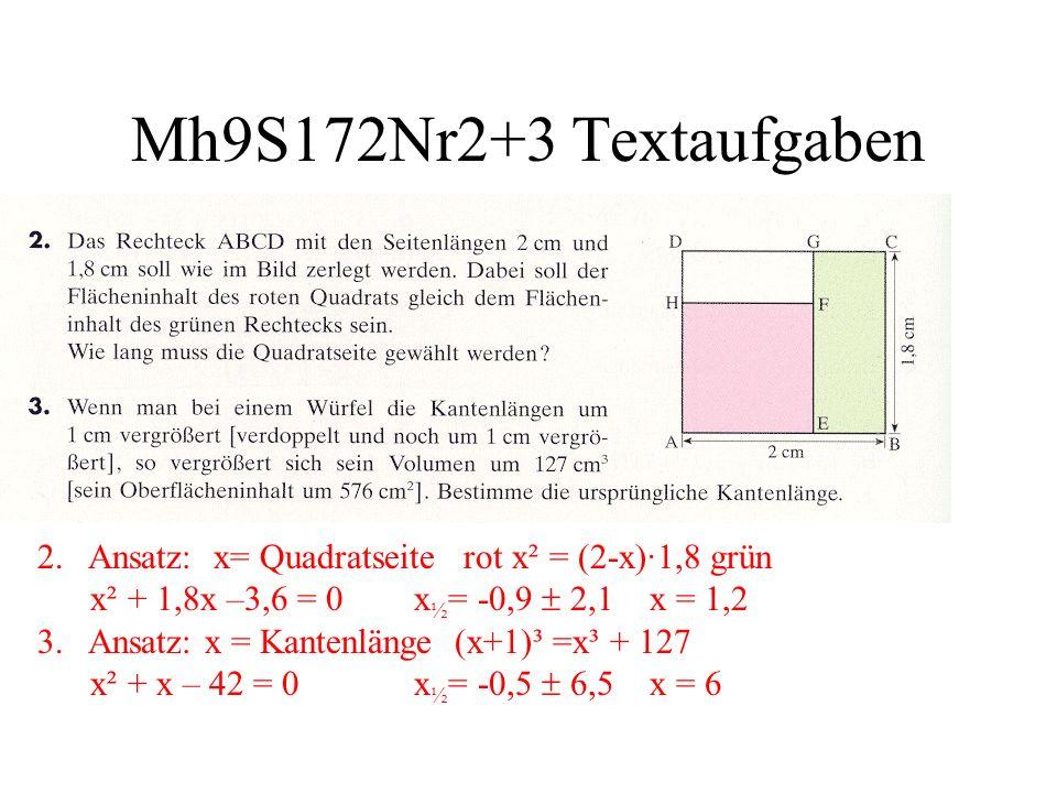 Mh9S172Nr2+3 Textaufgaben 2. Ansatz: x= Quadratseite rot x² = (2-x)·1,8 grün x² + 1,8x –3,6 = 0 x ½ = -0,9 2,1 x = 1,2 3. Ansatz: x = Kantenlänge (x+1
