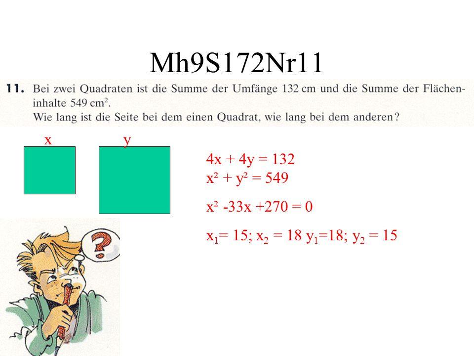 Mh9S172Nr11 xy 4x + 4y = 132 x² + y² = 549 x² -33x +270 = 0 x 1 = 15; x 2 = 18 y 1 =18; y 2 = 15