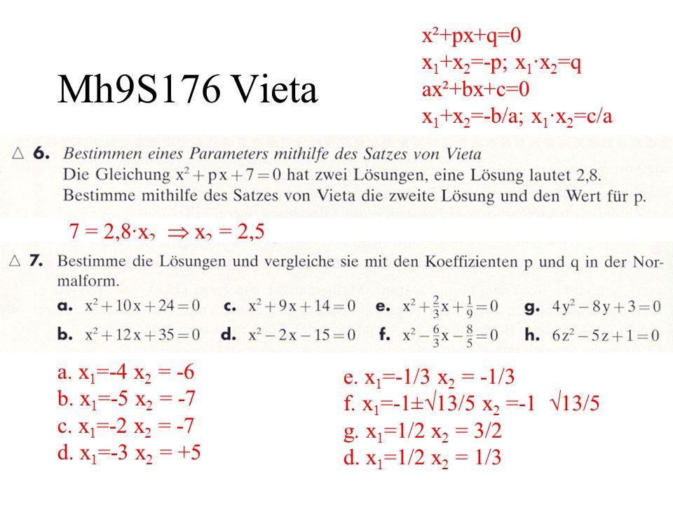Mh9S176 Vieta x²+px+q=0 x 1 +x 2 =-p; x 1 ·x 2 =q ax²+bx+c=0 x 1 +x 2 =-b/a; x 1 ·x 2 =c/a 7 = 2,8·x 2 x 2 = 2,5 a. x 1 =-4 x 2 = -6 b. x 1 =-5 x 2 =