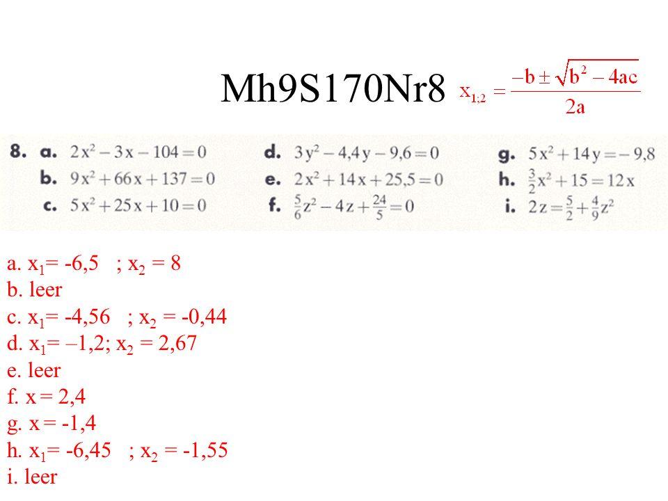 Mh9S170Nr8 a. x 1 = -6,5 ; x 2 = 8 b. leer c. x 1 = -4,56 ; x 2 = -0,44 d. x 1 = –1,2; x 2 = 2,67 e. leer f. x = 2,4 g. x = -1,4 h. x 1 = -6,45 ; x 2