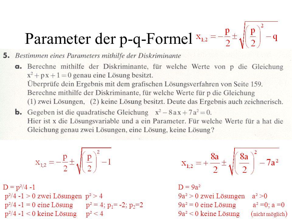 Parameter der p-q-Formel D = 9a² 9a² > 0 zwei Lösungen a² >0 9a² = 0 eine Lösung a² =0; a =0 9a² < 0 keine Lösung ( nicht möglich ) D = p²/4 -1 p²/4 -
