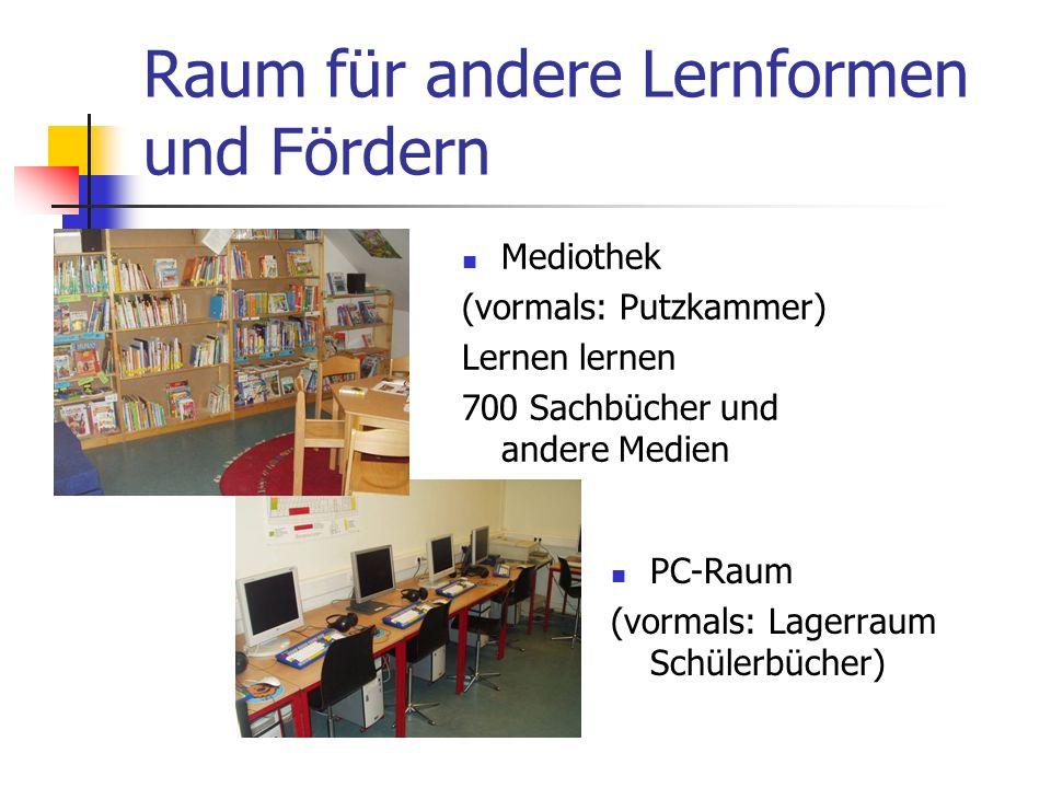 Raum für andere Lernformen und Fördern Mediothek (vormals: Putzkammer) Lernen lernen 700 Sachbücher und andere Medien PC-Raum (vormals: Lagerraum Schülerbücher)