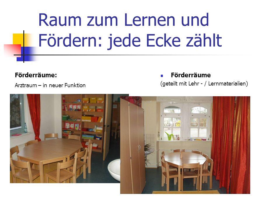 Raum zum Lernen und Fördern: jede Ecke zählt Förderräume (geteilt mit Lehr - / Lernmaterialien) Förderräume: Arztraum – in neuer Funktion