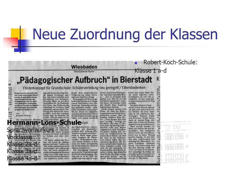 Neue Zuordnung der Klassen Hermann-Löns-Schule Sprachvorlaufkurs Vorklasse Klasse 2a-d Klasse 3a-d Klasse 4a-d Robert-Koch-Schule: Klasse 1 a-d