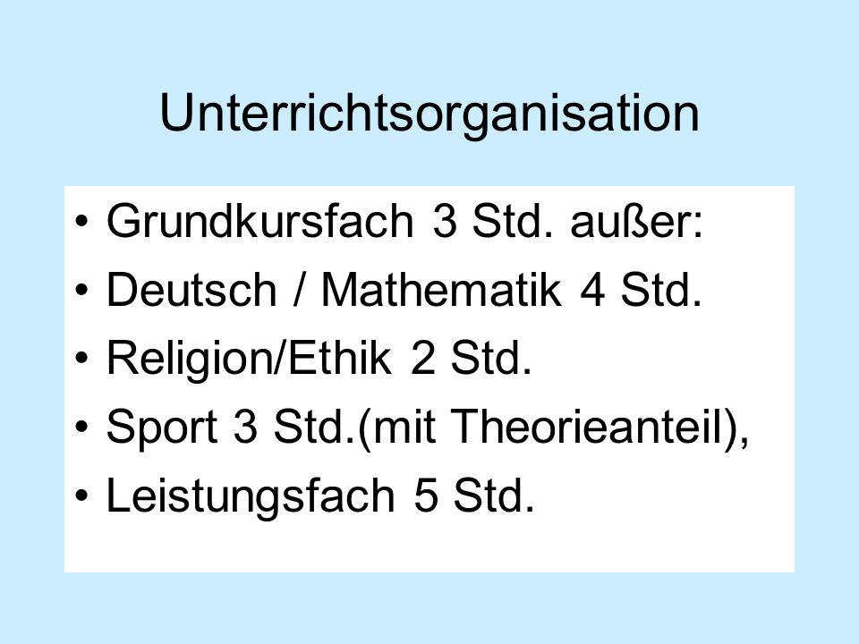 Unterrichtsorganisation Grundkursfach 3 Std. außer: Deutsch / Mathematik 4 Std. Religion/Ethik 2 Std. Sport 3 Std.(mit Theorieanteil), Leistungsfach 5