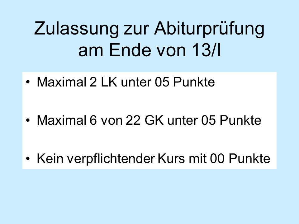 Zulassung zur Abiturprüfung am Ende von 13/I Maximal 2 LK unter 05 Punkte Maximal 6 von 22 GK unter 05 Punkte Kein verpflichtender Kurs mit 00 Punkte