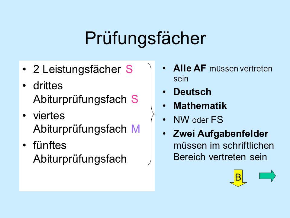 Prüfungsfächer 2 Leistungsfächer S drittes Abiturprüfungsfach S viertes Abiturprüfungsfach M fünftes Abiturprüfungsfach Alle AF müssen vertreten sein Deutsch Mathematik NW oder FS Zwei Aufgabenfelder müssen im schriftlichen Bereich vertreten sein B