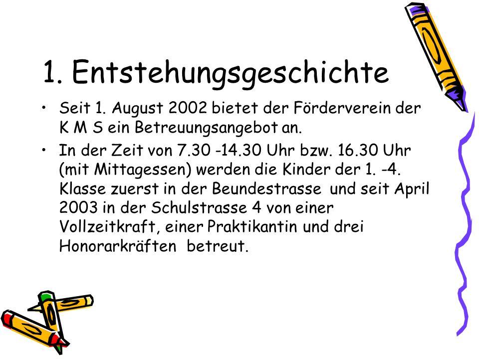 1. Entstehungsgeschichte Seit 1. August 2002 bietet der Förderverein der K M S ein Betreuungsangebot an. In der Zeit von 7.30 -14.30 Uhr bzw. 16.30 Uh